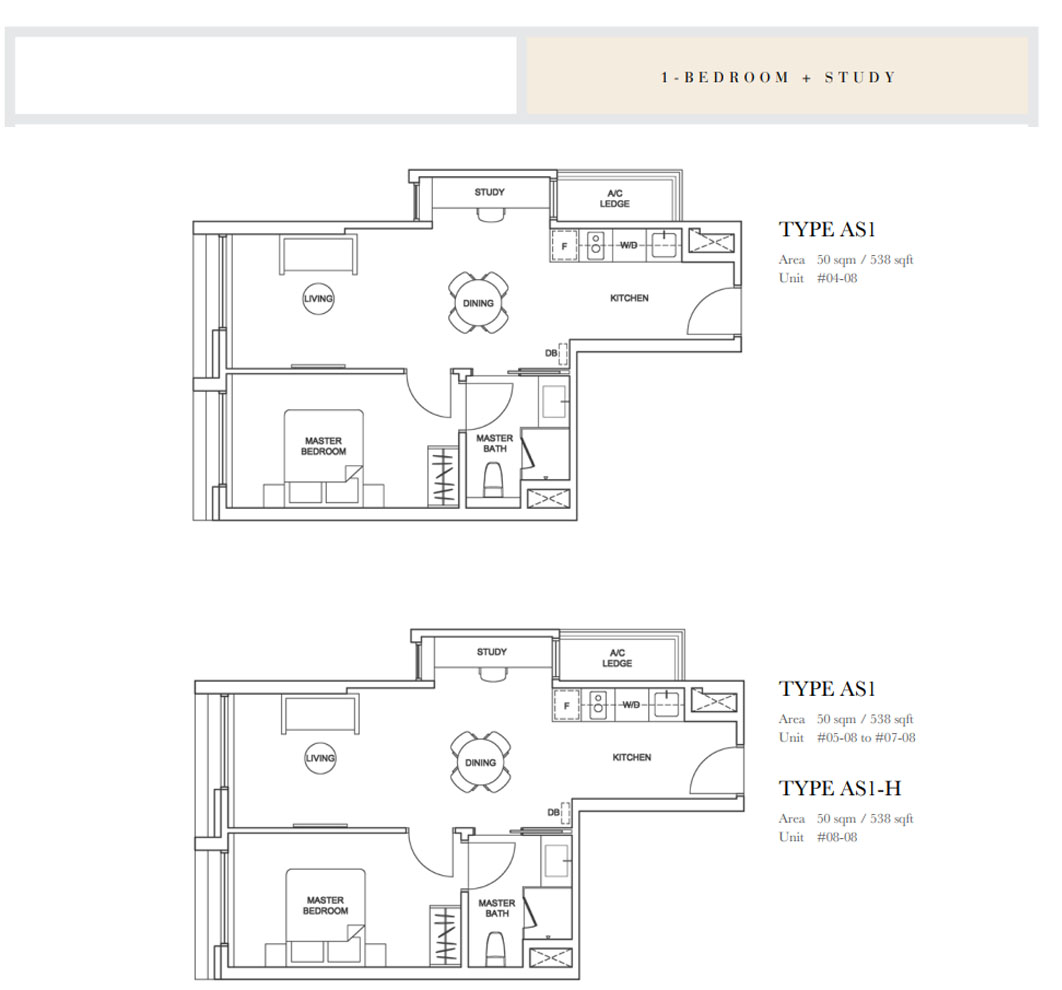 1 bedroom study floor plans