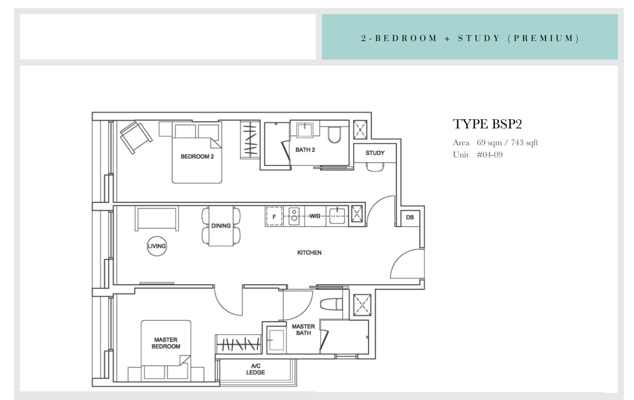 Sixteen35 Residences 2 bedroom premium study