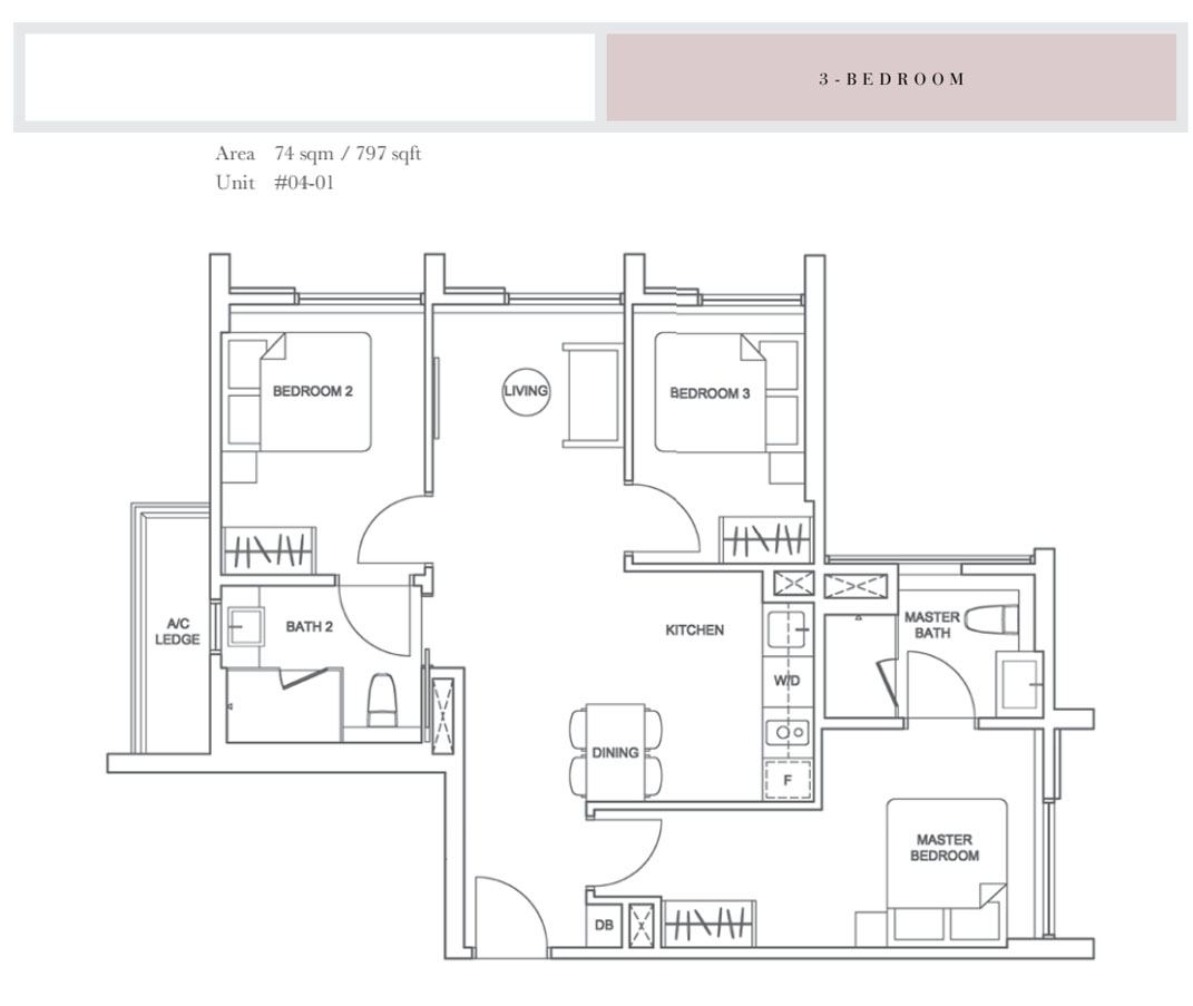Sixteen35 Residences @ geylang 3 bedroom layouts